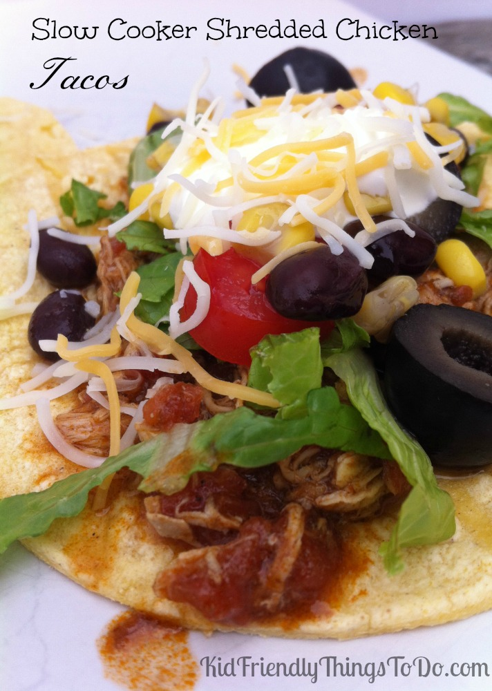 The most amazing Slow Cooker Shredded Chicken Tacos!