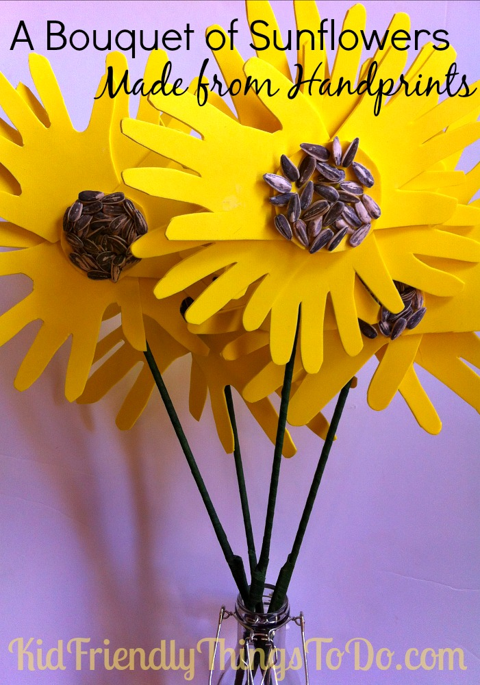 A Bouquet Of Sunflowers Made With Handprints Craft