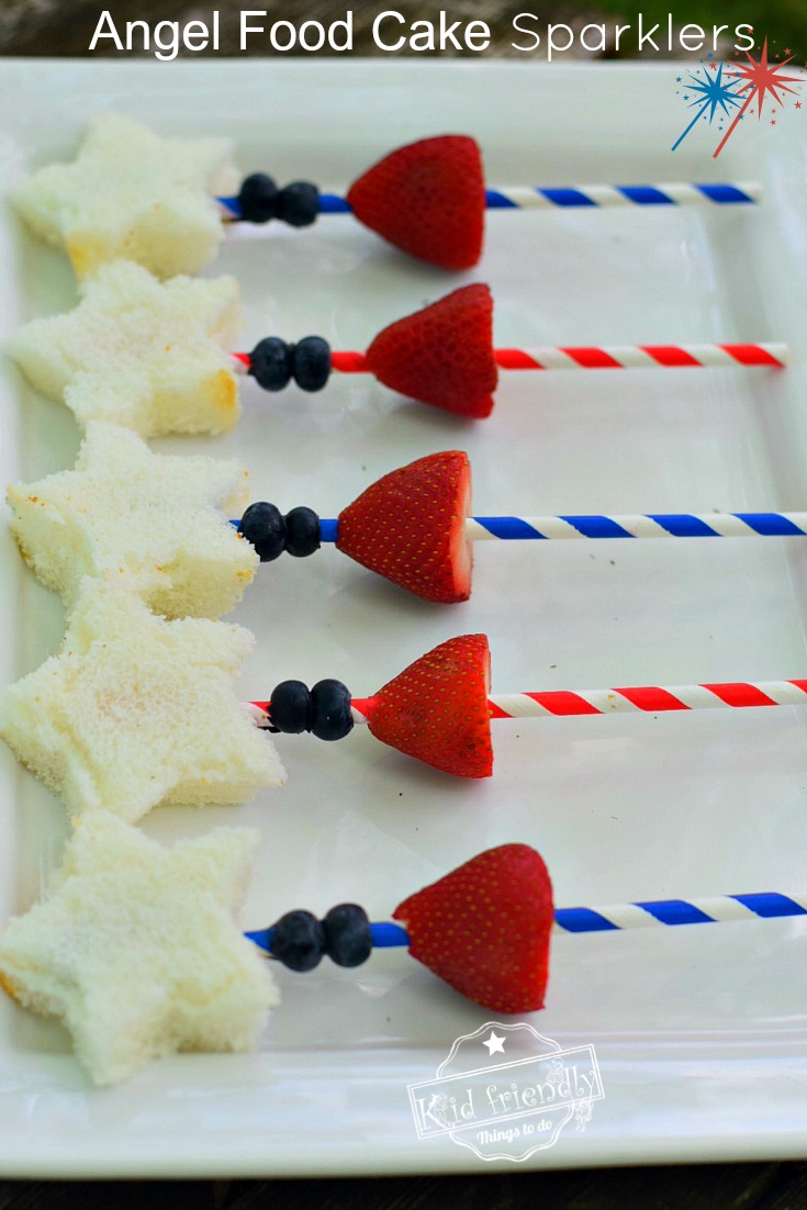 Angel Food Cake and Fruit Sparklers Patriotic Treat