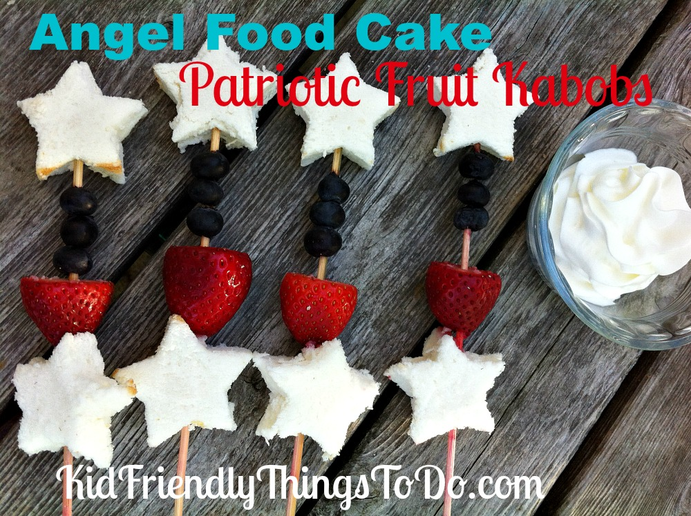 How Fun, and Easy to Do! Angel Food Cake Patriotic Fruit Kabobs. All you need is a star cookie cutter to make the star, and add fruit! Cute stuff!