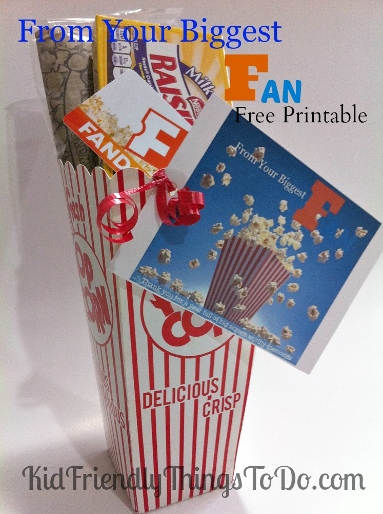 End of Year Teacher Appreciation Printable for Fandango Movie Gift Cards! Pair it with popcorn, and candy! Cute teacher gift!