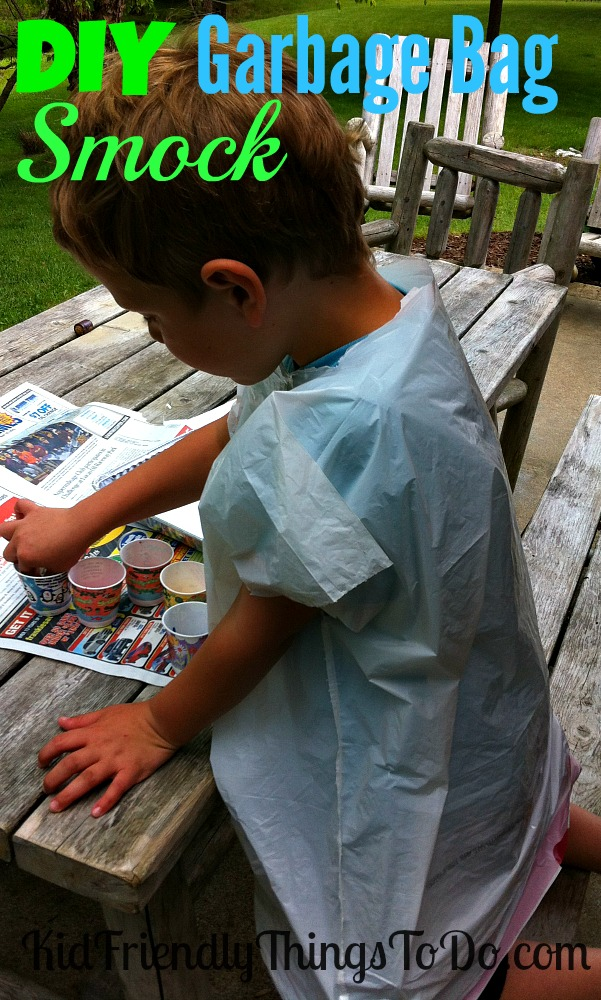 DIY Garbage Bag Kid's Art Smock! - Scissors + Garbage Bag = Instant Smock For All! Perfect for painting birthday parties, or just everyday fun!