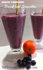 Healthy Four Ingredient Blueberries and Orange Juice Breakfast Smoothie