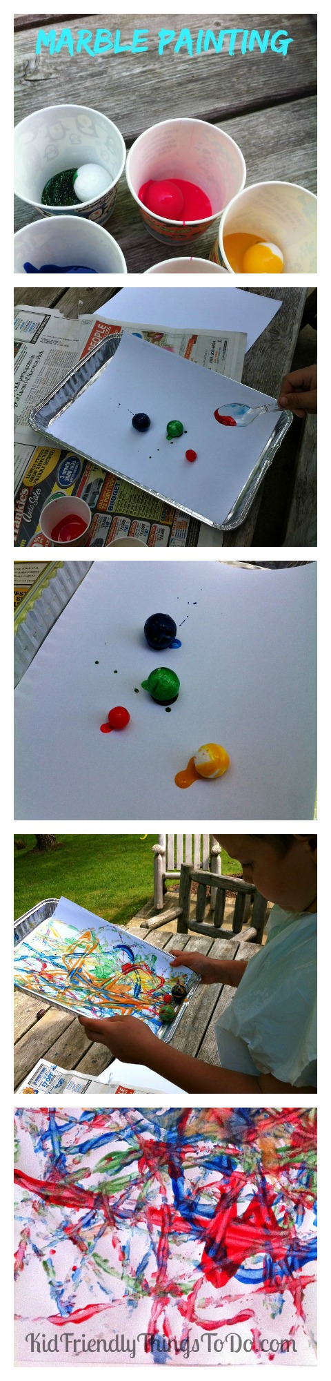 Marbles are so much fun!  Painting with marbles is even more fun for kids!