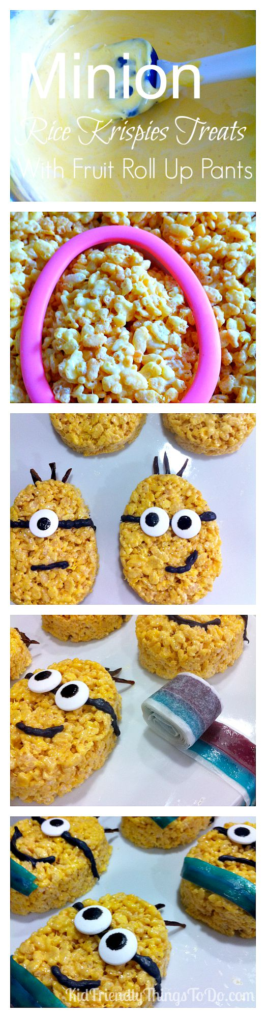 Minion Rice Krispies Treats Fun Food Idea - What a fun idea that all kids at the birthday party will love! The Minions even have fruit roll up pants!