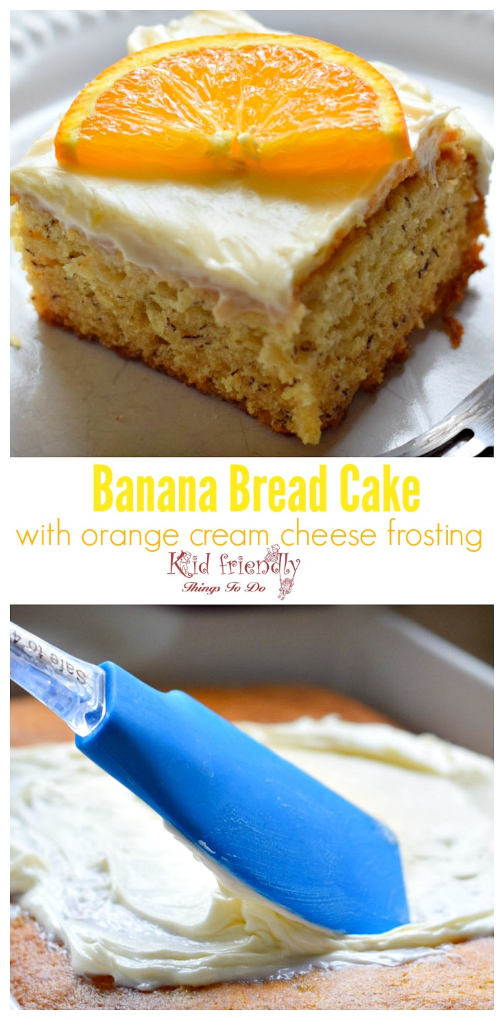 Easy and Moist Banana Bread Bars or Cake with Cream Cheese Frosting Recipe - www.kidfriendlythingstodo.com
