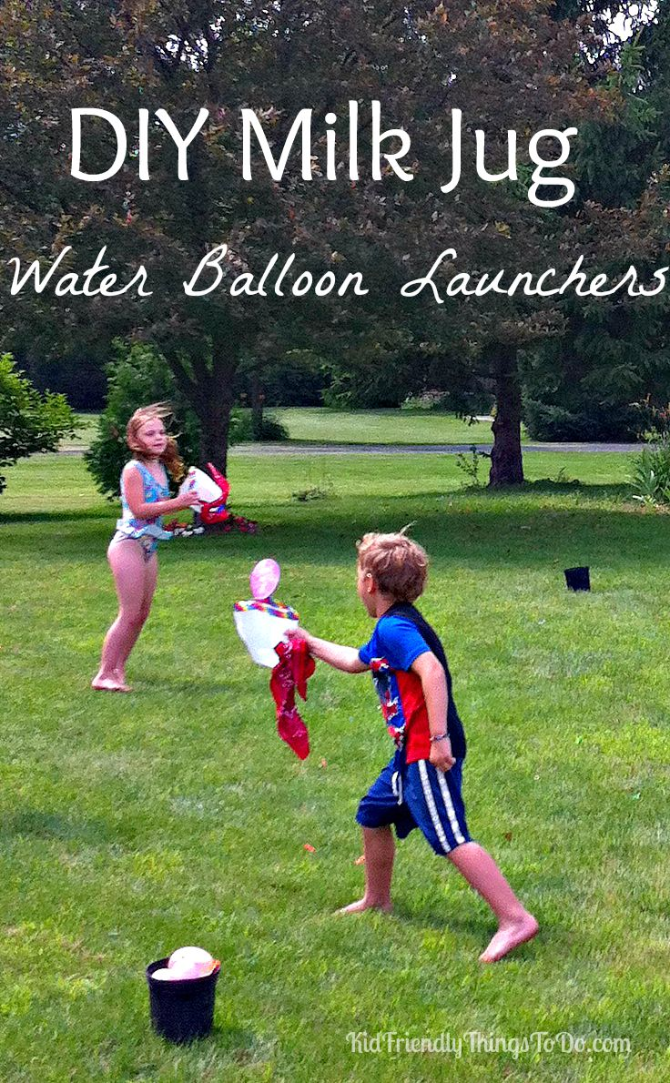 Diy milk jug water balloon launch outdoor summer game for kids for Fun things to do with water balloons