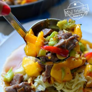 Pork Stir Fry with Mango over Angel Hair Pasta Recipe {So Delicious!} | Kid Friendly Things To Do