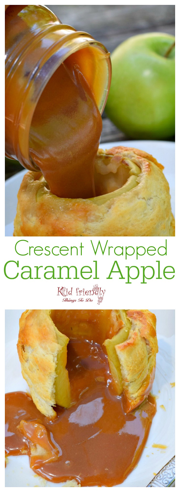 How to Make Homemade Crescent wrapped apples filled with caramel - Delicious and fun dessert - Easy to make www.kidfriendlythingstodo.com
