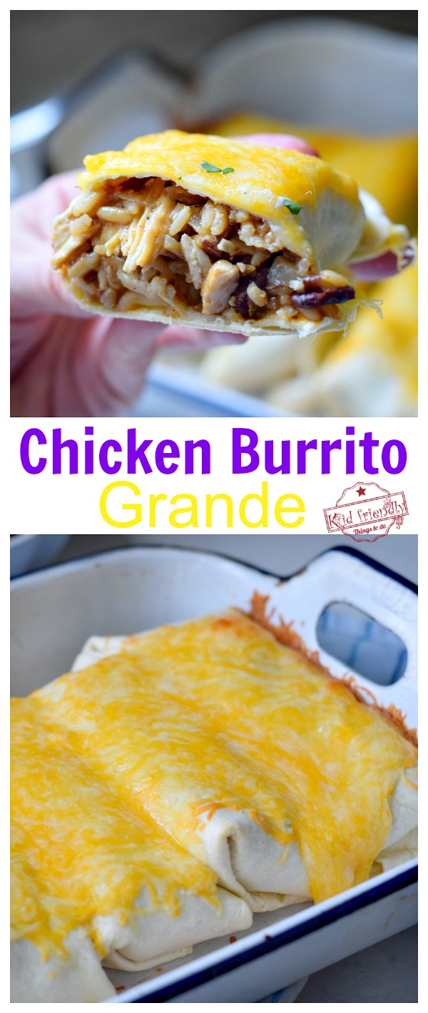 Chicken Burrito with beans and rice