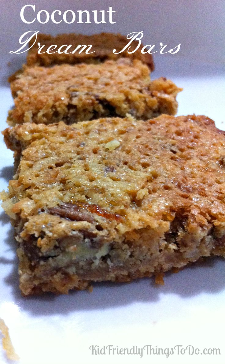 Coconut Dream Bars. A well deserved name! These dream bars are crazy good! Perfect for parties, BBQs, cook outs, after school treats, and holiday gatherings!