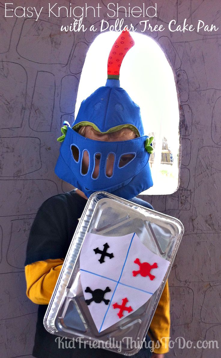 Easy Dollar Tree Cake Pan  Knight Shield Craft! Perfect for a castle, and knight birthday party!