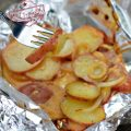 Savory Grilled Foiled Packet Campfire Potatoes - Easy camping recipe for dinner or lunch - www.kidfriendlythingstodo.com