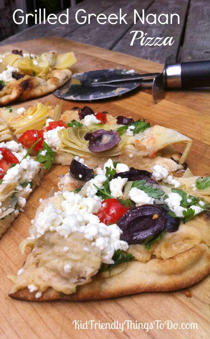 Grilled Greek Naan Pizzas Recipe - These are the most amazingly simple ...