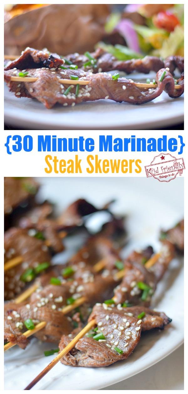 Easy Steak Skewers with 30 Minute Marinade