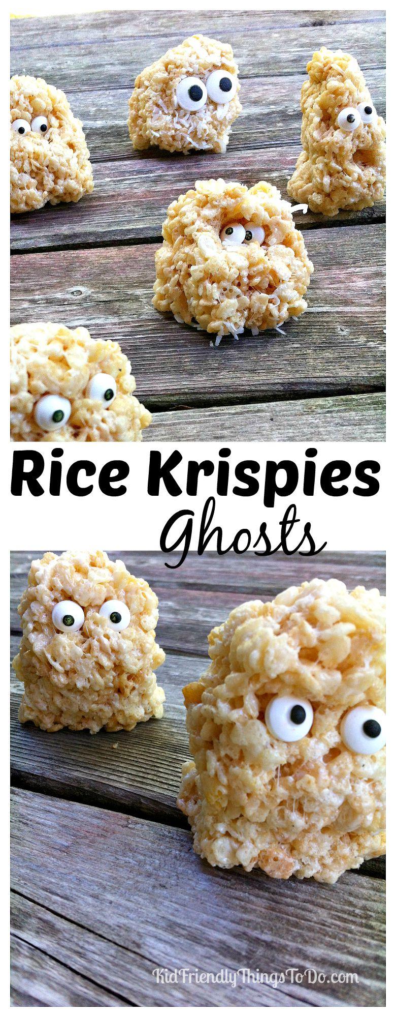 Rice Krispies Treats Ghosts - A Halloween or Hotel Transylvania Fun Food - KidFriendlyThingsToDo.com
