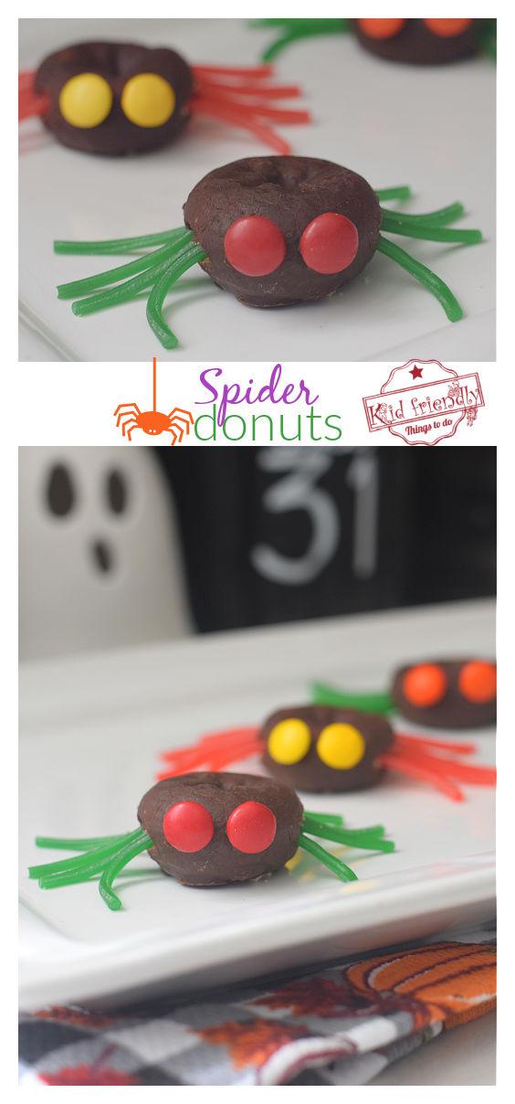 Halloween fun food spider doughnuts