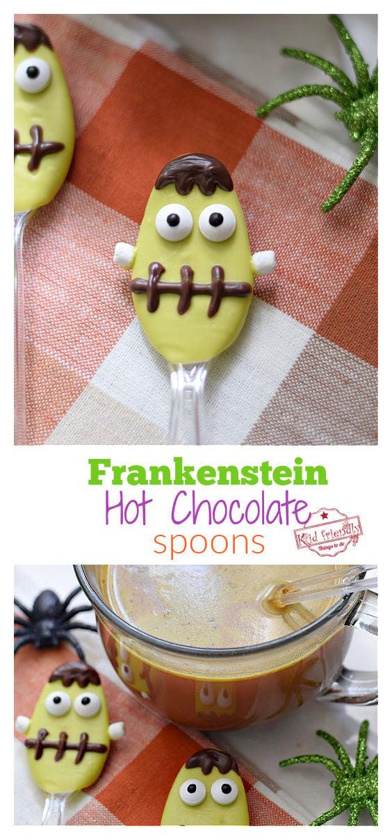 Frankenstein hot chocolate spoons for Halloween Treats