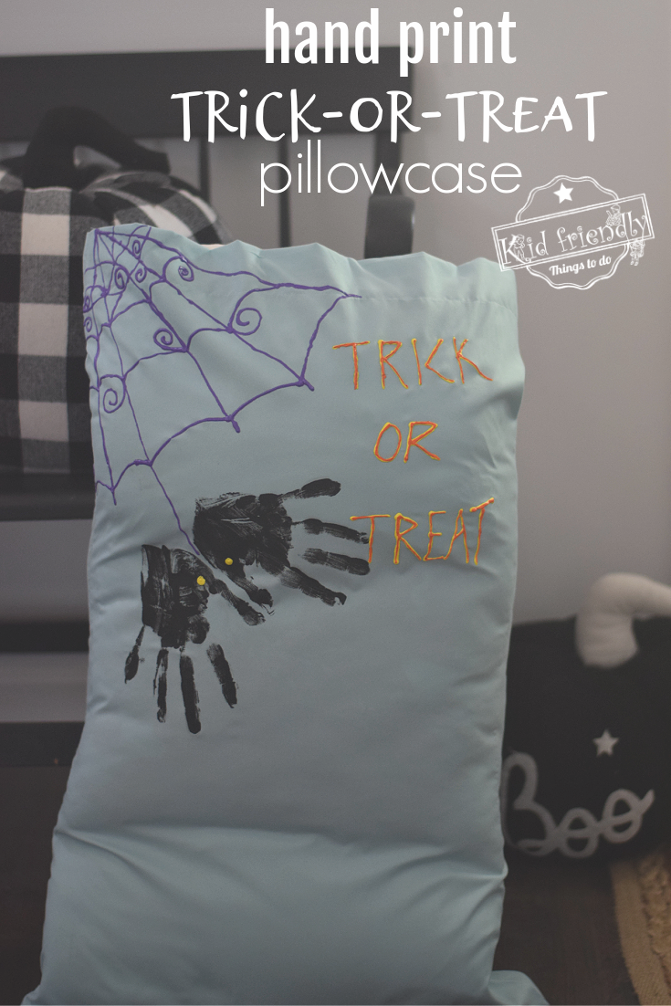 hand print Halloween pillowcase
