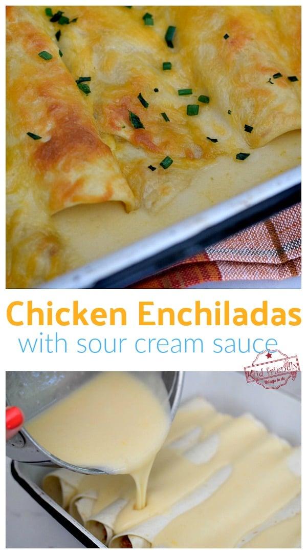 Best chicken enchiladas with sour cream sauce