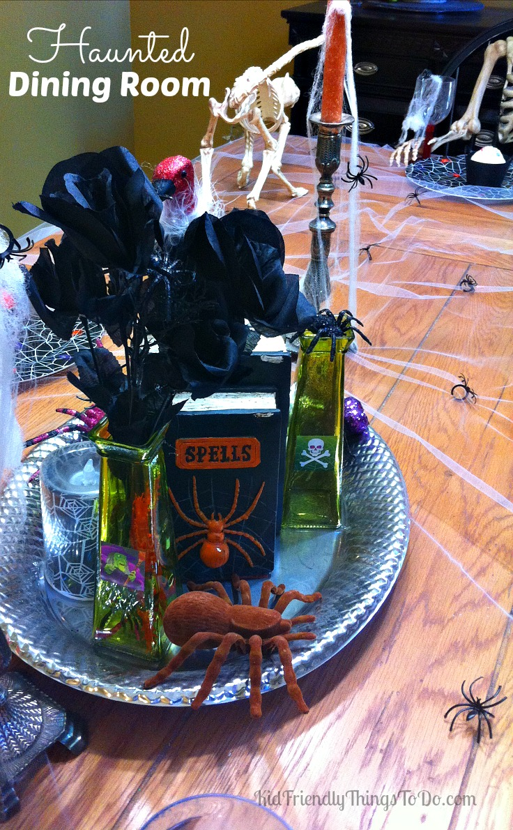 No sewing required! Inexpensive and Easy Spooky Halloween Tablecloth. This decoration instantly haunts your table! - KidFriendlyThingsToDo.com