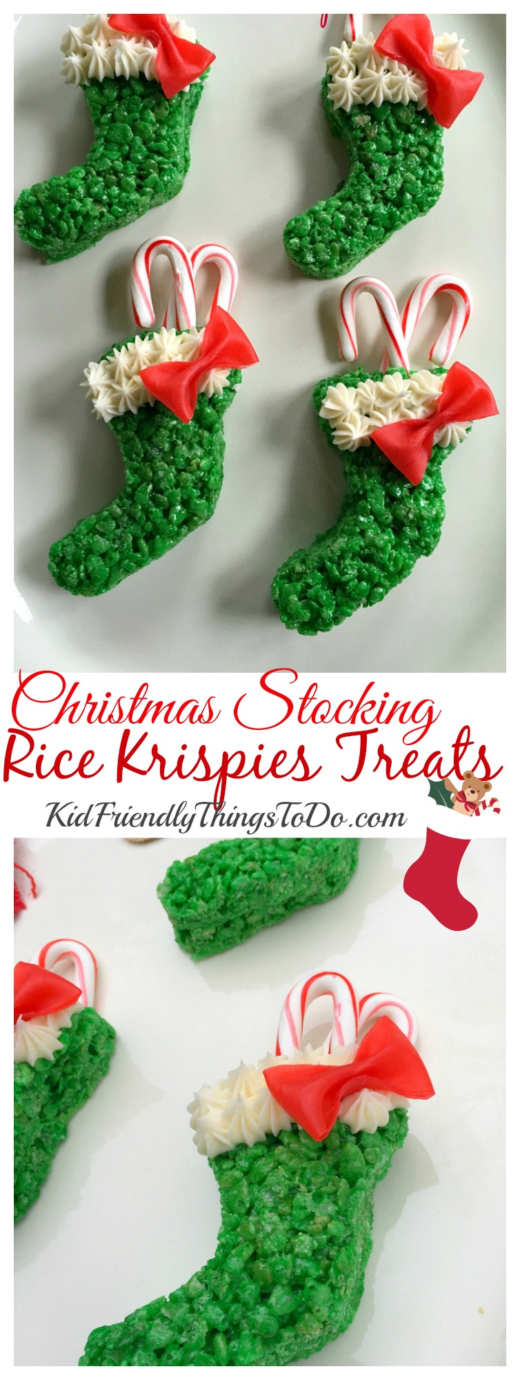 christmas stocking rice krispies treats with easy fruit roll up bows