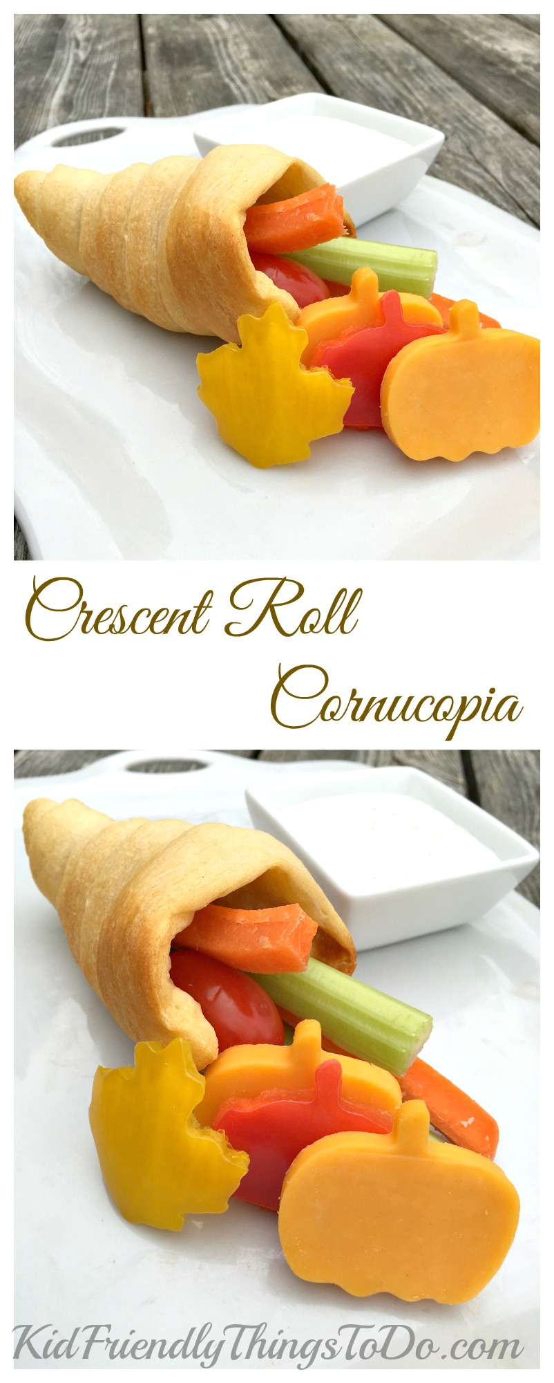 Crescent Roll Cornucopia filled with Vegetables and served with ranch dip! Yum and Fun! - KidFriendlyThingsToDo.com