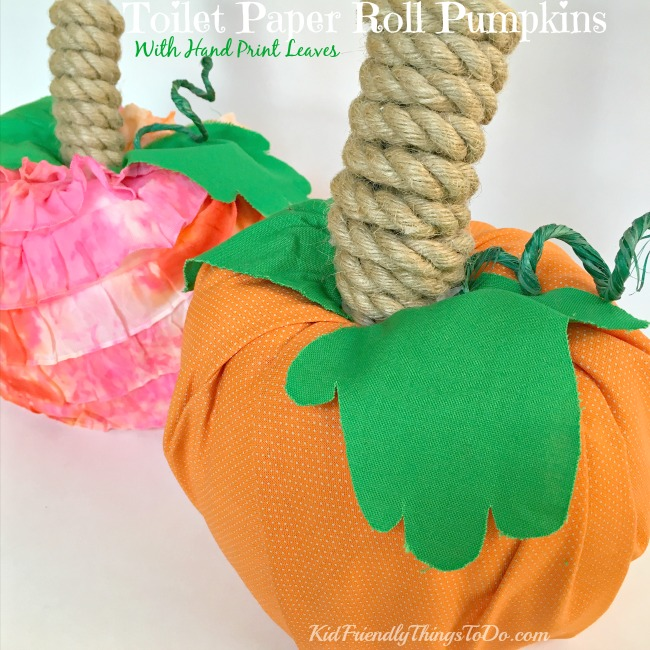 Sweet Toilet Paper Roll Pumpkin With Hand Prints for Leaves! Cute for fall and Thanksgiving crafts - KidFriendlyThingsToDo.com