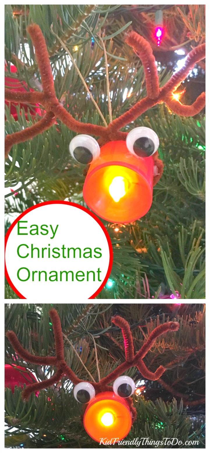 Easy Rudolph Christmas Ornament. This  is probably the easiest ornament I've ever made with kids!  - KidFriendlyThingsToDo.com