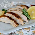 Lemon Herb Turkey Breast in Oven on Platter