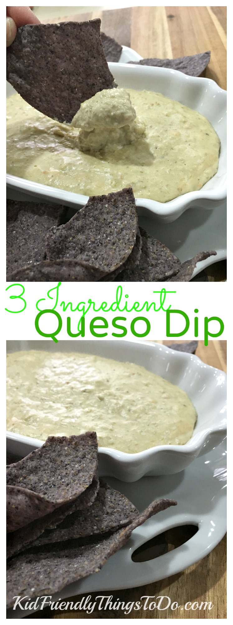 Three Ingredient Easy White Queso Dip  for the crock pot (slow cooker) or stove top - KidFriendlyThingsToDo.comThree Ingredient Easy White Queso Dip  for the crock pot (slow cooker) or stove top - KidFriendlyThingsToDo.com