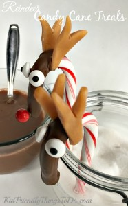 Chocolate Covered Candy Cane Reindeer Treat