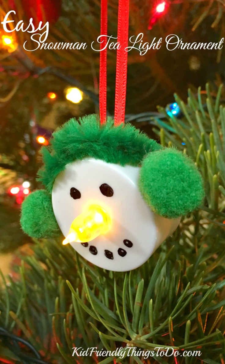 Easy snowman tea light ornament craft for Simple christmas decorations to make