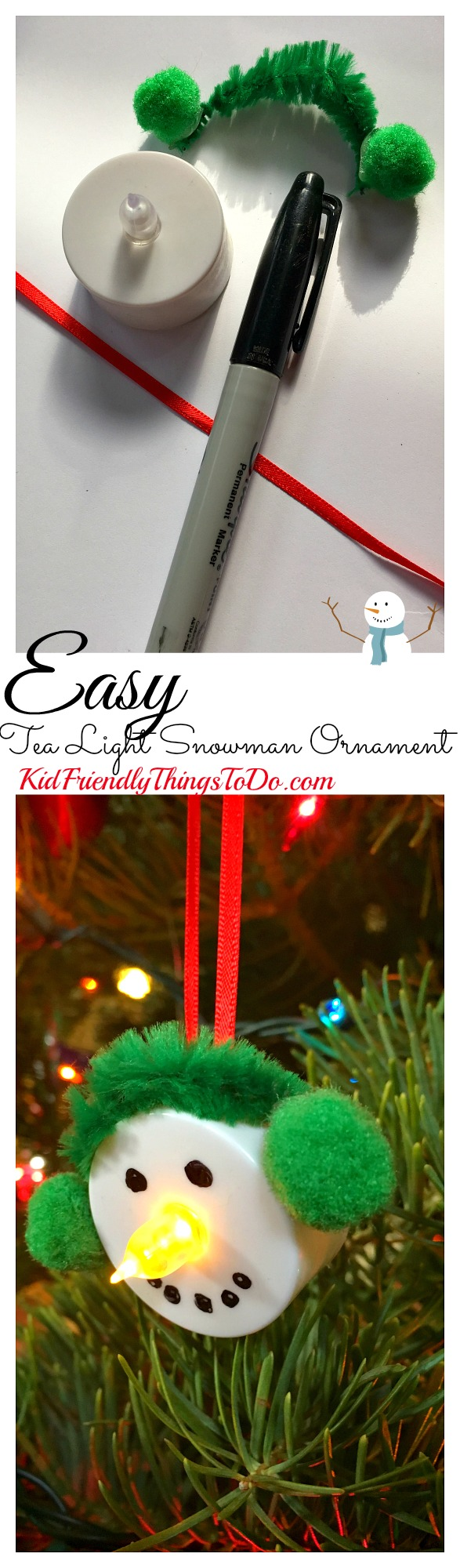 Easy Snowman Tea Light Ornament Craft for the perfect stress free craft with kids! - Great for a classroom party - KidFriendlyThingsToDo.com