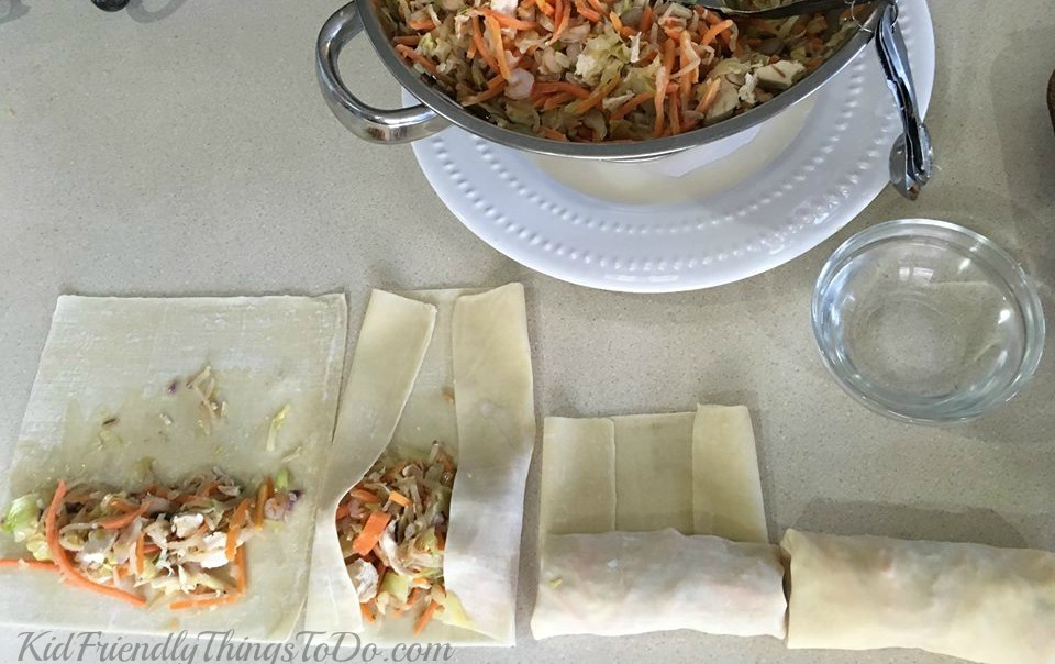 Baked Shrimp and Chicken Egg Rolls. Baked! Still crispy and delicious. This is the way I will make egg rolls from now on. KidFriendlyThingsToDo.com