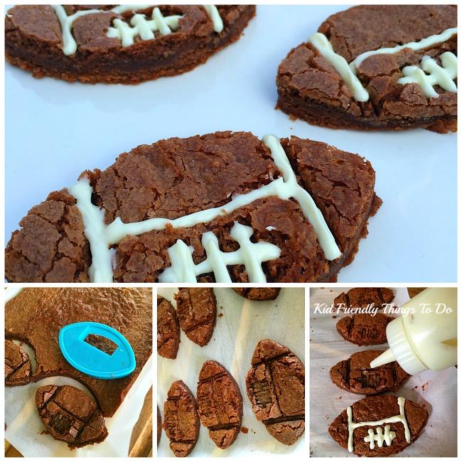 A last minute football fun food! Easy Football Shaped Brownie Recipe - KidFriendlyThingsToDo.com