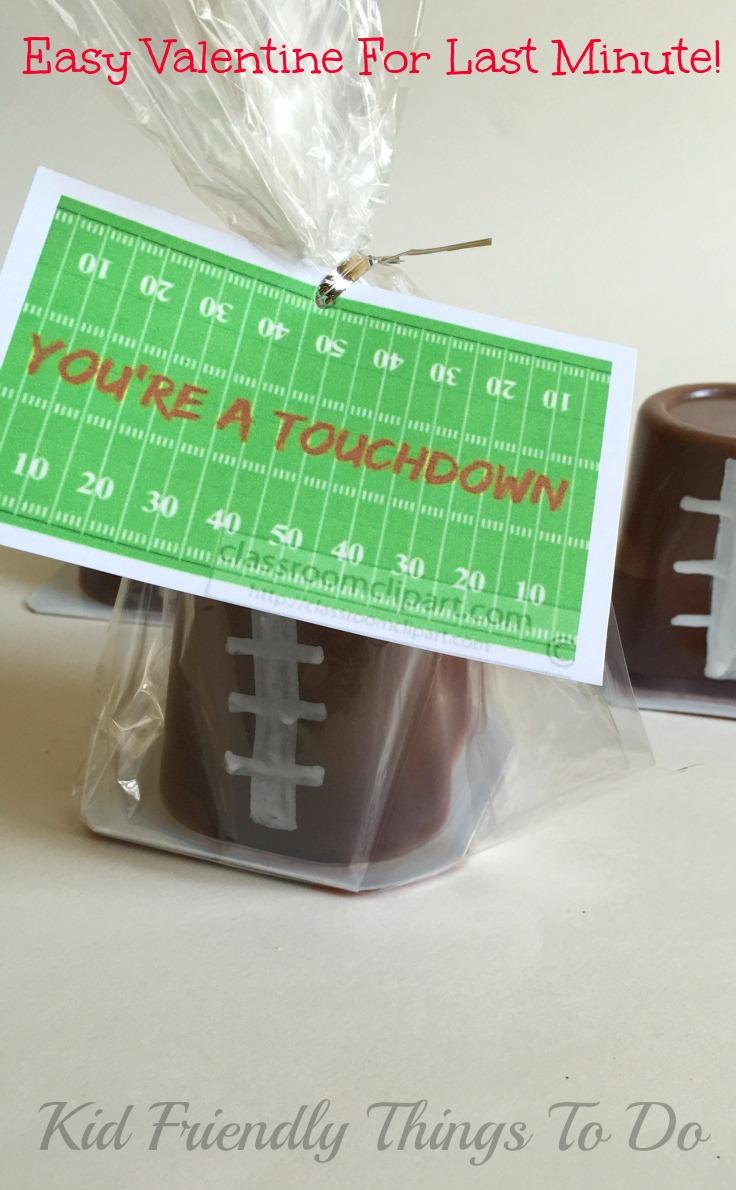 Last minute Valentine idea - You're A Touchdown with printable - KidFriendlyThingsToDo.com