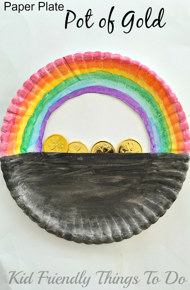 A Simple Paper Plate Pot Of Gold St Patricks Day Craft