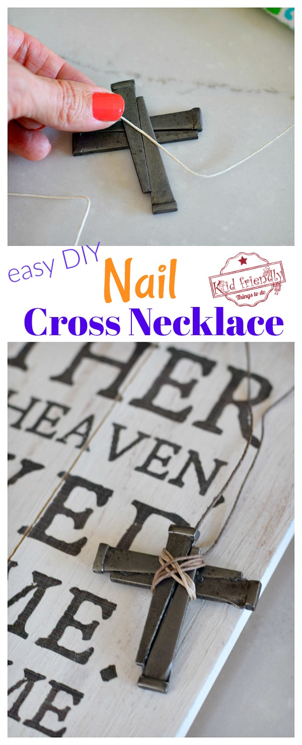 Making a cross necklace out of nails