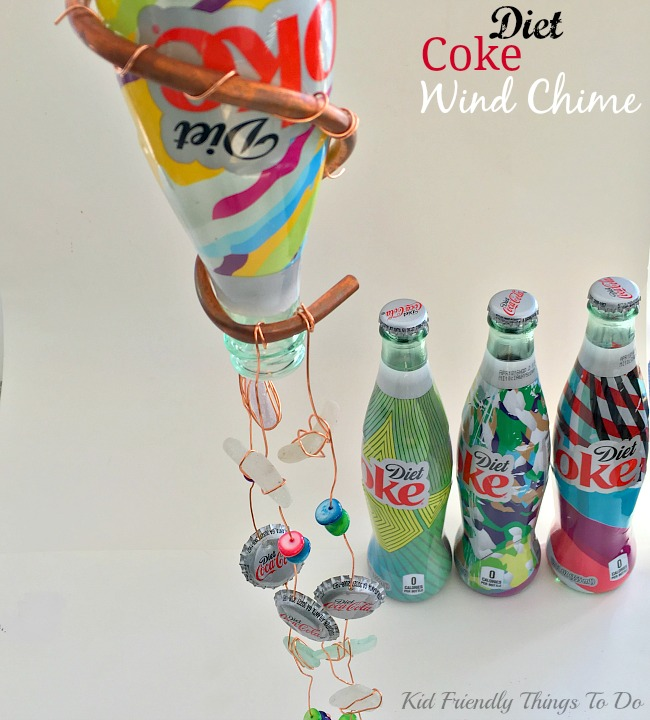Turning a Coca-Cola Bottle into a Wind Chime. The New Colorful Diet Coke Bottle Wind Chime Craft - KidFriendlyThingsToDo.com