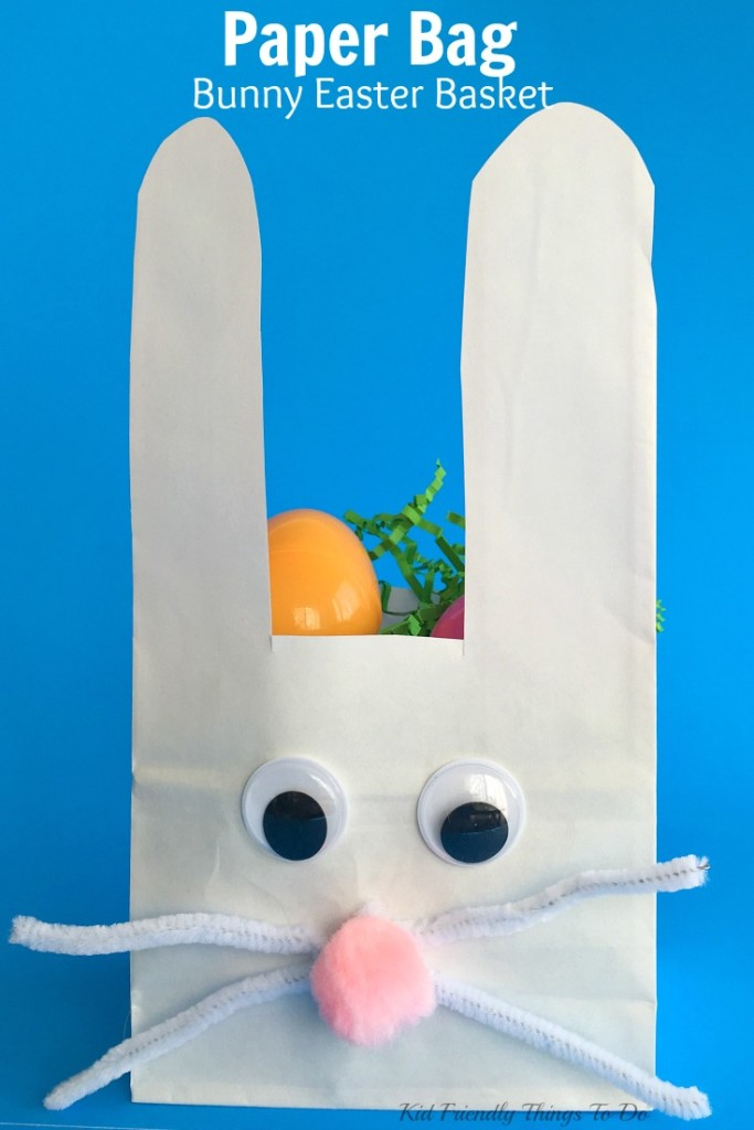 Easy to make Paper Bag Bunny Easter Basket Craft for Kids - KidFriendlyThingsToDo.com