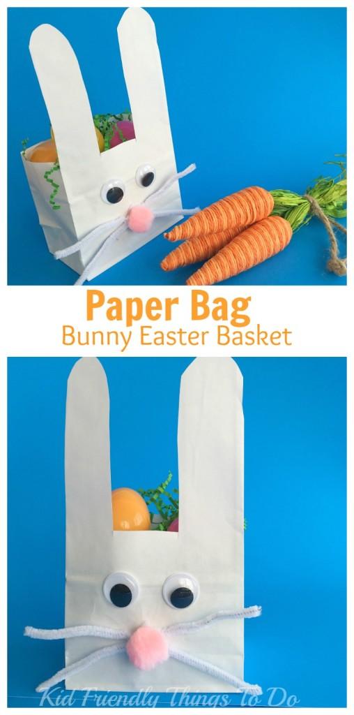 Easy to make Paper Bag Bunny Easter Basket Craft for Kids - KidFriendlyThingsToDo.com