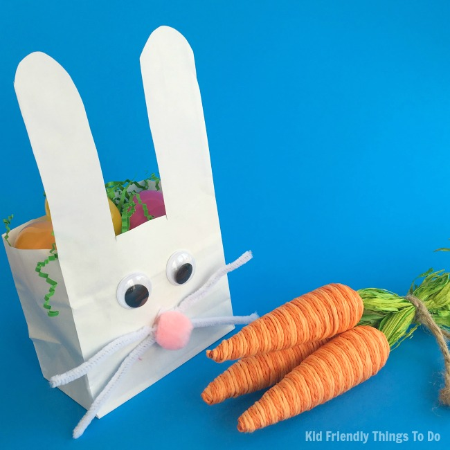 paper basket craft paper bag bunny easter basket craft for kid 2608