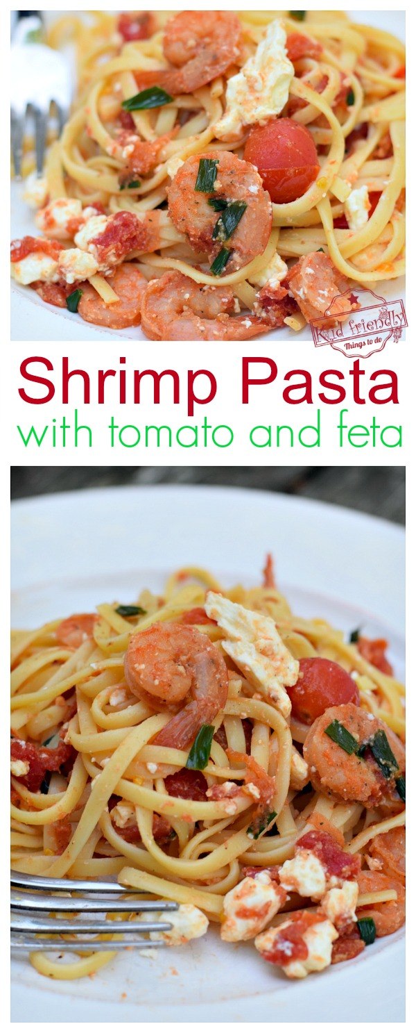 spicy shrimp pasta with tomato and feta