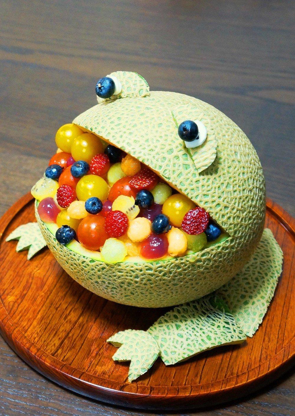 frog shaped fruit salad