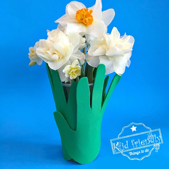 A Sweet Childs Handprint Vase For Mothers Day And More