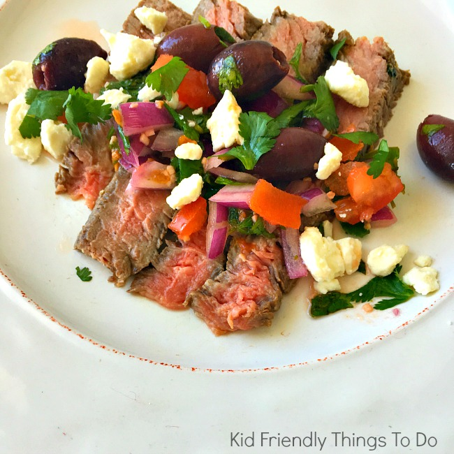 Grilled Ribeye Steak With Greek Relish - KIdFriendlyThingsToDo.com