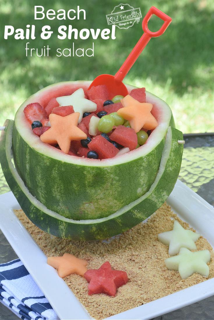pail and shovel watermelon fruit bowl