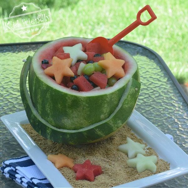 shovel and pail watermelon fruit bowl