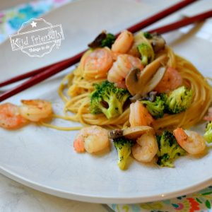 Easy Shrimp Lo Mein Recipe Made with Spaghetti Noodles  | Kid Friendly Things To Do